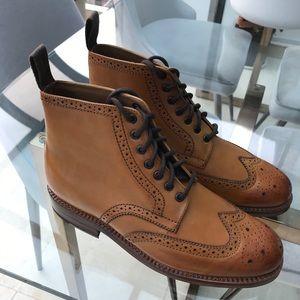 Grenson England Fred Brogue Boot Tan Calf Leather